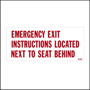 Emergency Exit Instructions Located Next Seat Behind