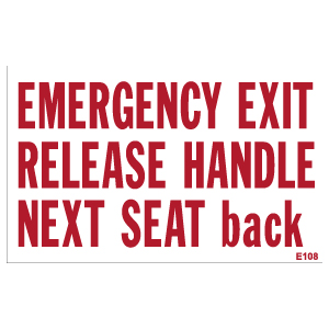 Emergency Exit Release Handle Next Seat Back