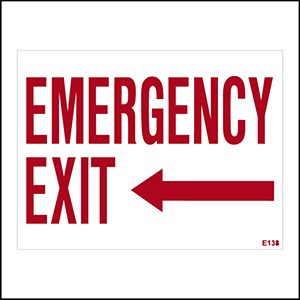 Emergency Exit With Left Arrow